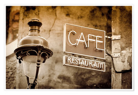 Premium poster  Cafe sign and lamp post, Paris, France. - age fotostock