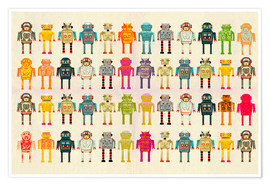 Premium poster  Toy robots in a row - Ikon Images