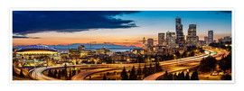Premium poster  Seattle in the evening light - Gary Luhm