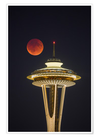 Premium poster  Bloodmoon over Seattle - Gary Luhm