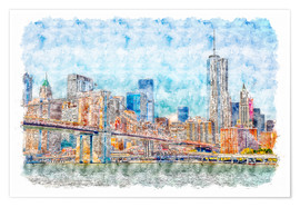 Premium poster New York skyline with Brooklyn Bridge