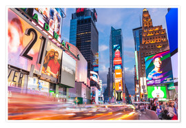 Premium poster  Passing vehicles in front of the billboards of Times Square in New York - Neale Clarke