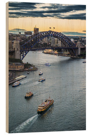 Wood print  View over Sydney Harbor - Michael Runkel