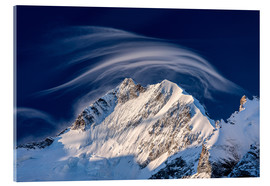 Acrylic print  Gentle cloud over Piz Bernina, Switzerland - Roberto Moiola