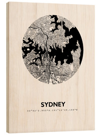 Wood print  City map of Sydney - 44spaces