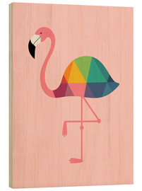 Wood print  Rainbow flamingo - Andy Westface