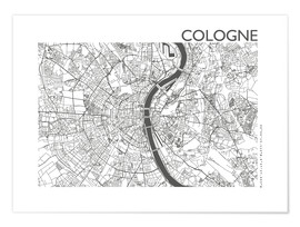 Premium poster  City map of Cologne - 44spaces