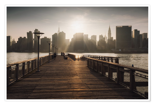 Premium poster New York City sunset view