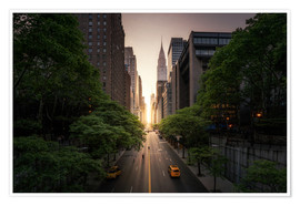 Premium poster New York sunset in the streets