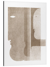 Aluminium print  Two profiles to the left, one to the right - Oskar Schlemmer