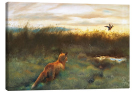 Canvas print  Fox and duck - Bruno Andreas Liljefors