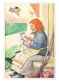 Premium poster  sitting on the kitchen porch with the kitty - Jenny Nyström