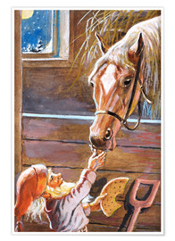 Premium poster  Dwarf Feeds a Horse in the Stable - Jenny Nyström
