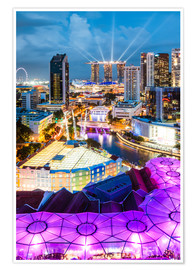 Premium poster  Downtown Singapore brightly lit. - Matteo Colombo