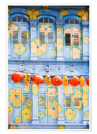 Premium poster  Painted shutters in Chinatown, Singapor - Matteo Colombo