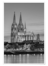 Premium poster Cologne Cathedral black-and-white