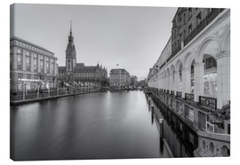 Canvas print  Hamburg Alsterarkaden and city hall black-and-white - Michael Valjak