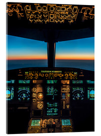 Acrylic print  A320 cockpit at twilight - Ulrich Beinert