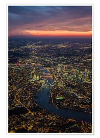 Premium poster  Birds-eye view of London - Ulrich Beinert