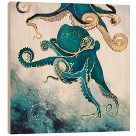 Wood print  Octopus, Underwater Dream V - SpaceFrog Designs