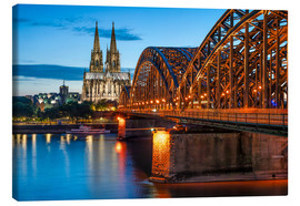 Canvas print  Cologne Cathedral and Hohenzollern Bridge at night - Jan Christopher Becke