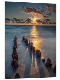 Foam board print  Groyne on Sylt with sunset - Heiko Mundel