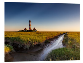 Acrylic print  Lighthouse Westerhever in the evening light - Heiko Mundel
