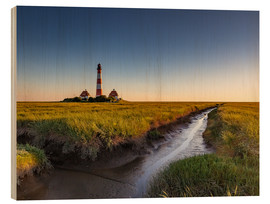 Wood print  Lighthouse Westerhever in the evening light - Heiko Mundel
