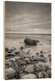 Wood print  Granite in the Baltic Sea (long exposure) - Heiko Mundel