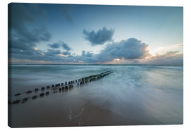 Canvas print  Groyne in the evening on Sylt (long exposure) - Heiko Mundel