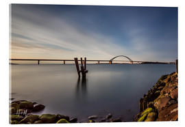 Acrylic print  Fehmarnsund Bridge in the evening light (long exposure) - Heiko Mundel