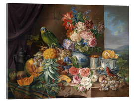 Acrylic print  Still life with fruits flowers and parrot - Joseph Schuster