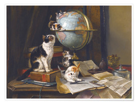 Premium poster A cat with a globe