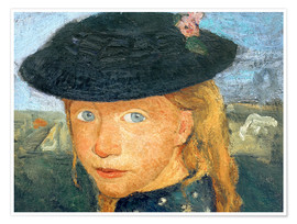 Premium poster Head of a little girl with straw hat