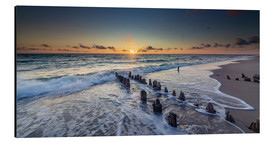 Aluminium print  Groynes in the sunset - Heiko Mundel