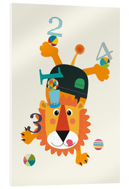 Acrylic print  Colourful counting lion - Jaysanstudio