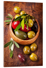 Acrylic print  Bowl with olives on a wooden table - Elena Schweitzer