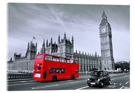 Acrylic print  Red bus on Westminster Bridge, London - Art Couture