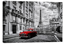 Canvas print  Paris in black and white with red car - Art Couture
